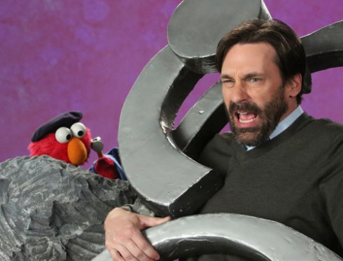 Jon Hamm and Elmo talk about sculpture on Sesame Street