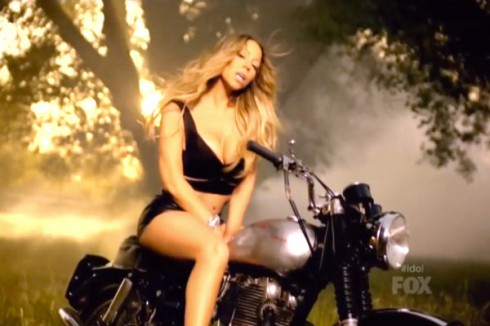 Mariah Carey motorcyle photo from Beautiful music video