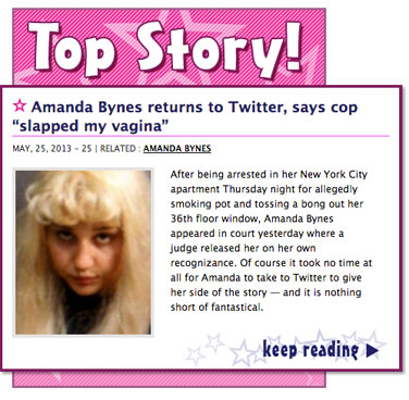 "Amanda Bynes returns to Twitter, says cop ""slapped my vagina"""