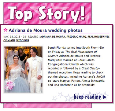 Real Housewives of Miami Adriana de Moura wedding photos