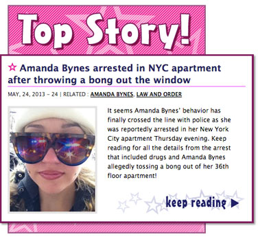 Amanda Bynes arrested in NYC apartment after throwing a bong out the window