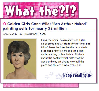 Golden Girls Gone Wild Bea Arthur Naked painting sells for nearly 2 million