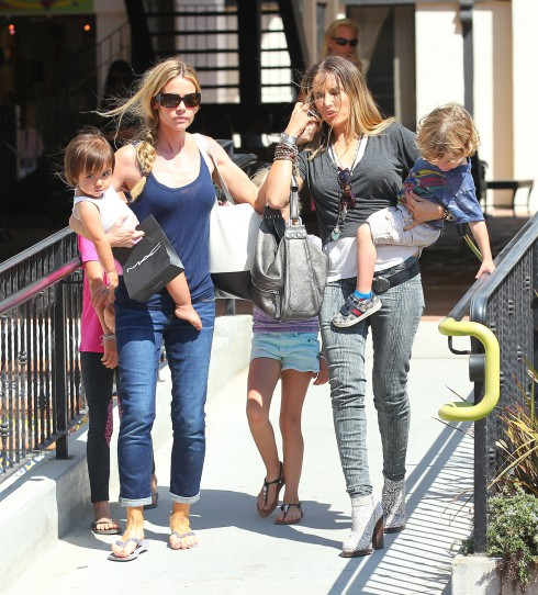 Denise Richards and daughters Sam, Lola and baby Eloise head to Malibu Country Mart with Charlie Sheen's other ex-wife Brooke Mueller and her twin sons Bob and Max. The group were also accompanied by Denise's father, Irv Richards in Los Angeles, California.