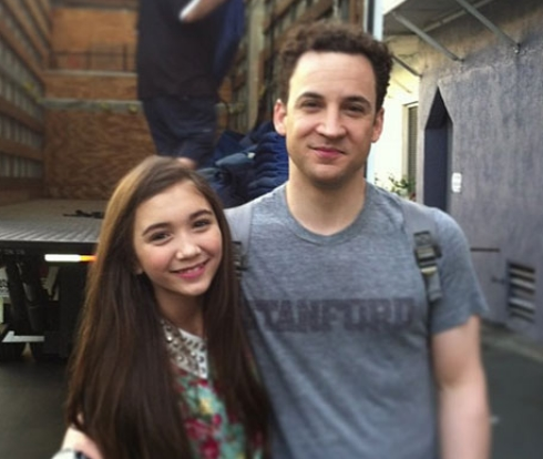 Rowan Blancard and Ben Savage on the set of Girl Meets World