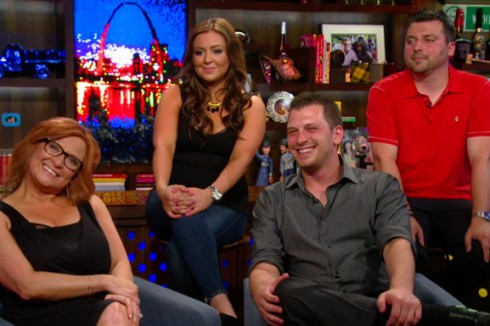Caroline Manzo, Lauren Manzo, Albie Manzo, and Chris Manzo appear on Watch What Happens Live
