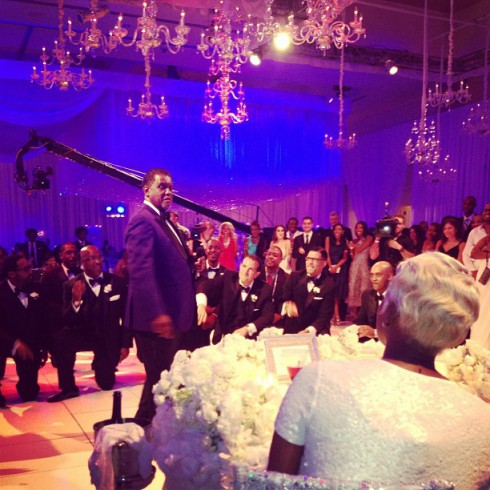 Gregg Leakes and NeNe at their wedding ceremony on June 22.