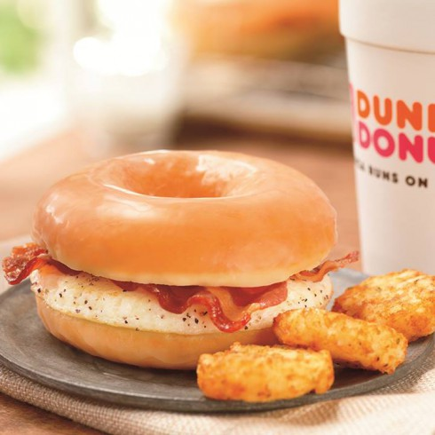 Dunkin' Donuts Glazed Donut Breakfast Sandwich with bacon and fried egg
