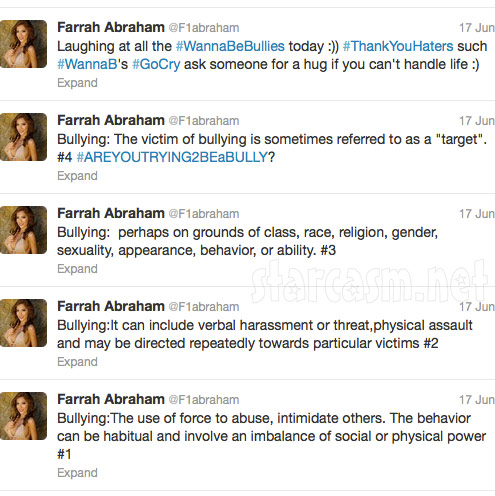 Farrah Abraham tweets about being bullied