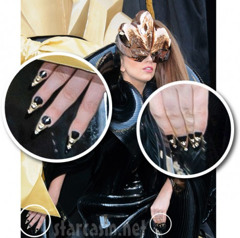 Lady Gaga wearing fake fingernails similar to the one sold for 13,000 dollars
