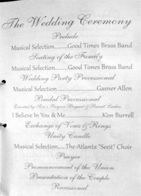 Gregg and NeNe Leakes wedding program 2