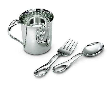 Three-piece sterling silver Elsa Peretti Padova baby set from Tiffany