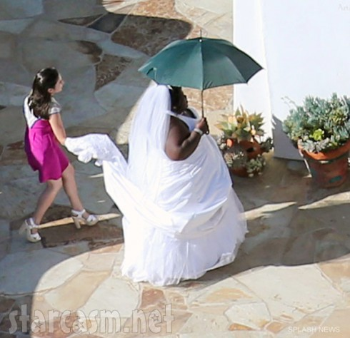 Gabourey Sidibe arrives at Jimmy Kimmel's wedding in a wedding dress