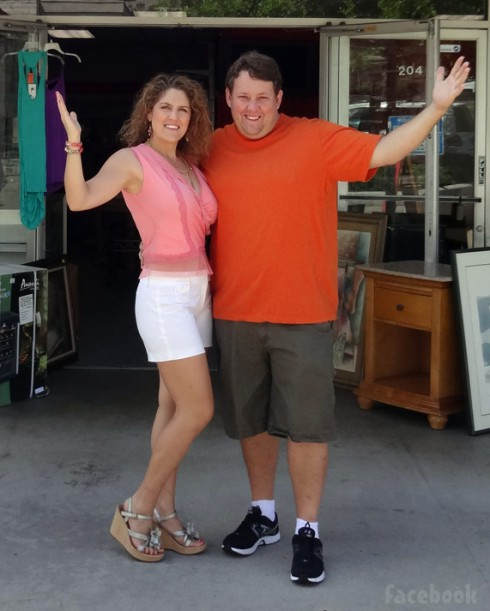 Rene Nezhoda and wife Casey Nezhoda at Bargain Hunters Thrift Store in San Diego