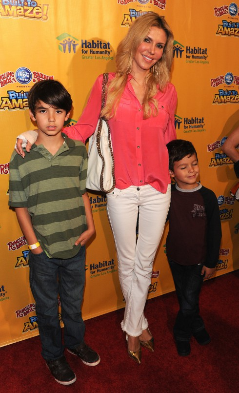 "Brandi Glanville and sons Mason and Jake at the premiere of Ringling Bros. and Barnum & Bailey 'Built To Amaze'. Hollywood's shining stars and their families to experience an evening of ""custom-built"" excitement and festivities celebrating Habitat for Humanity of Greater Los Angeles."