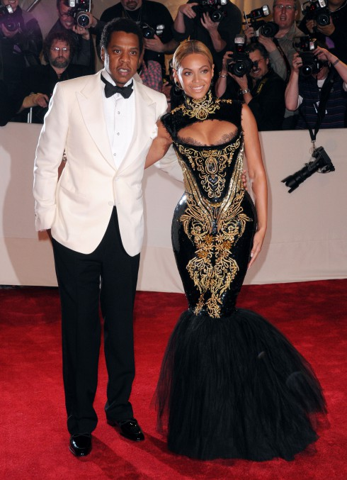 Jay-Z and Beyonce Knowles attend Alexander McQueen: 'Savage Beauty' Costume Institute Gala 2011 at The Metropolitan Museum of Art in New York City, United States.