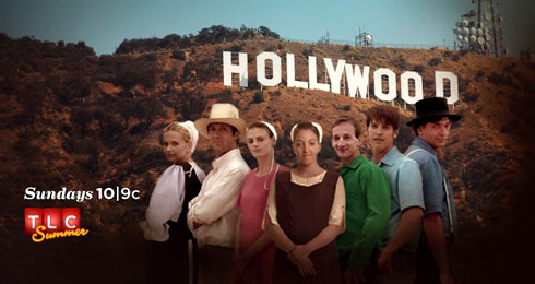 Breaking Amish LA cast in front of the Hollywood sign