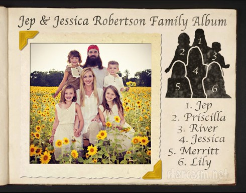 Duck Dynasty Jep Robertson family photo with wife Jessica Robertson and their kids Lily Merritt Priscilla and River