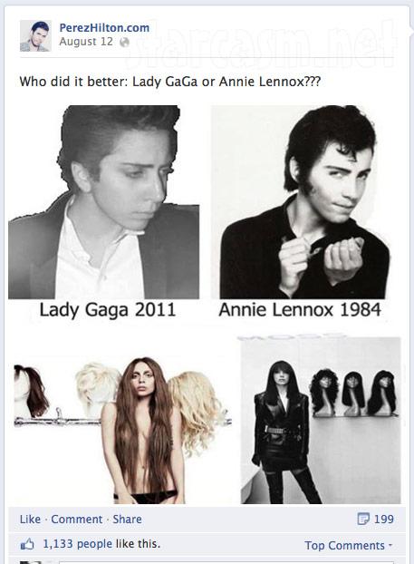 Perez Hilton compares Lady Gaga to Annie Lennox