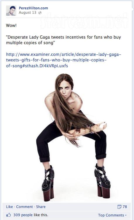 Perez Hilton attacks Lady Gaga online 4