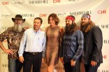 Countess LuAnn de Lesseps with the Robertson men Uncel Si Alan Jep and Willie of Duck Dynasty at Sherri Hill runway show