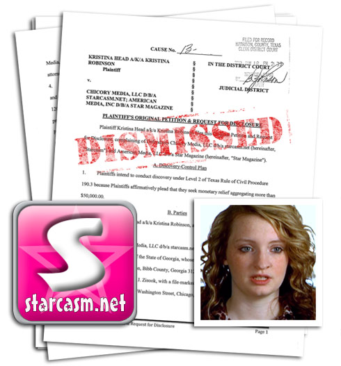 16 and Pregnant Kristina Robinson Head lawsuit against Starcasm Star magazine and Perz Hilton dismissed