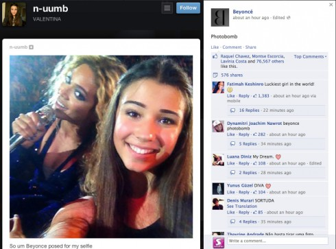Beyonce photobombs teen selfie during concert Facebook