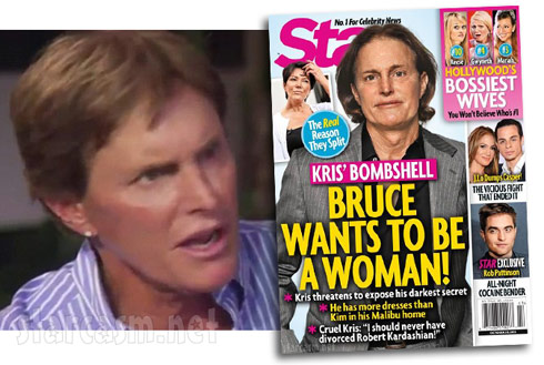Bruce Jenner looking surprised (and quite feminine) over Star magazine transgender article