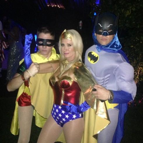 Kim Richards Wonder Woman Batman Robin Halloween costume party