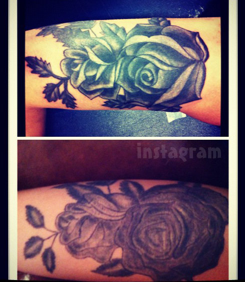 Morgan Adler black rose arm tattoo before and after photos