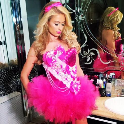 Paris Hilton wearing a Barbie Halloween costume 2013