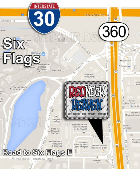 Redneck Heaven restaurant from Big Tips Texas Arlington location map