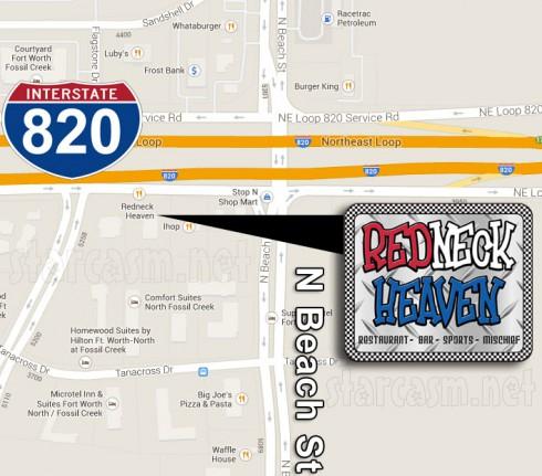 Big Tips Texas restaurant Redneck Heaven Ft. Worth location map