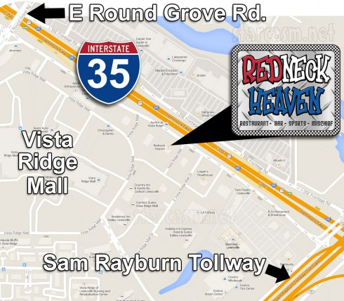 Big Tips Txas restaurant Redneck Heaven map Lewisville location