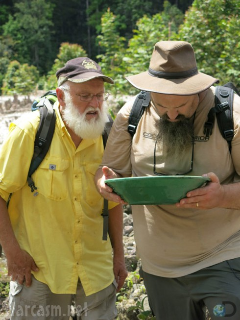 Todd Hoffman and Jack Hoffman panning for gold on Gold Rush