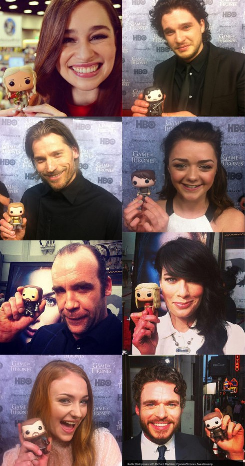 Photos of Game of Thrones actors with Funko toy figures