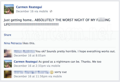 Carmen Reategui Facebook post about DWI arrest