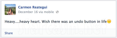 Carmen Reategui Facebook wall post about DUI arrest