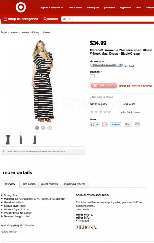 Pregnant model on Target.com's Merona Women's Plus-Size Short-Sleeve V-Neck Maxi Dress - Black/Cream