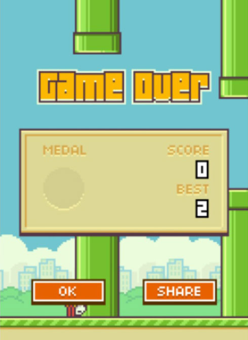 Flappy Bird Game Over screen