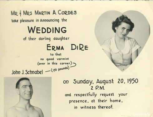 Gold Rush Parker Schnabel's Grandpa John Schnabel wedding announcement 1950 throwback photo