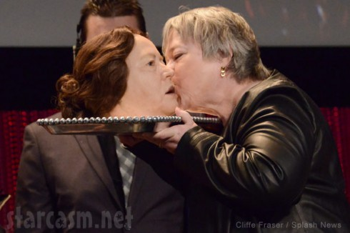 Kathy Bates Paleyfest AHS Coven kisses her own head
