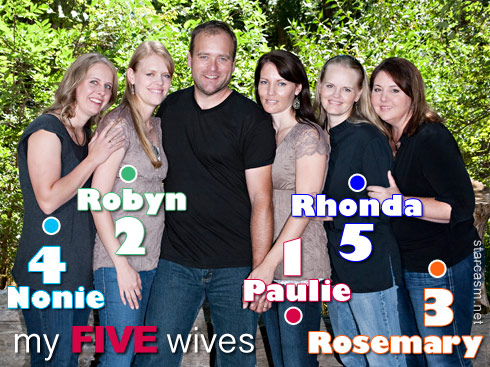 Brady Williams and his five wives numbered in order of their marriages Paulie, Robyn, Rosemary, Nonie and Rhonda