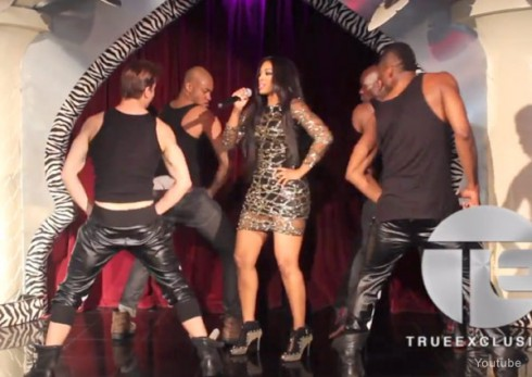 Porsha Stewart performing live Flatline with male dancers at El Morrocco club in New york City