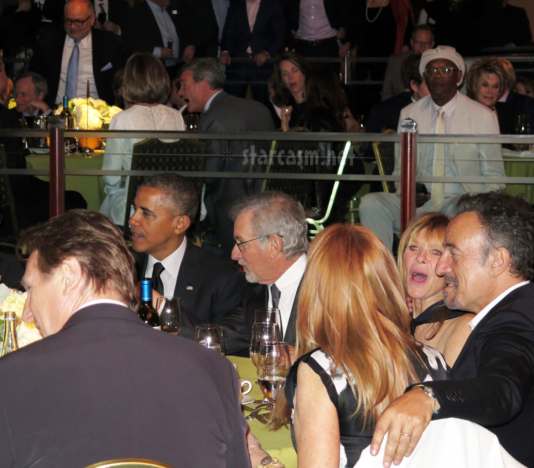 Sad Samuel L. Jackson gazes at Obama, Springsteen, Neesen, Spielberg