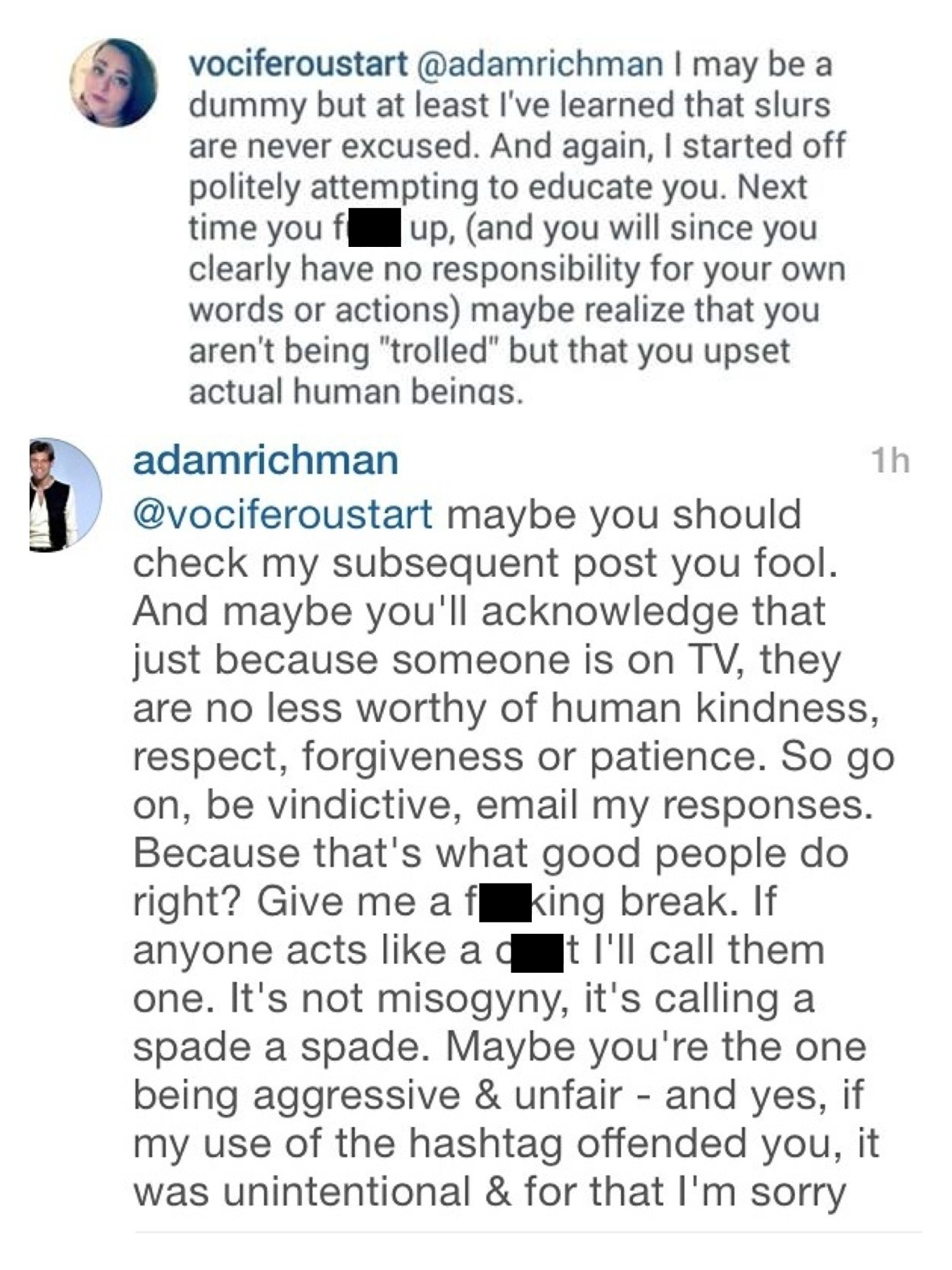 Man v. Food's Adam Richman calls Instagram follower a c**t, tells ...