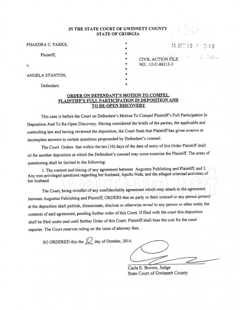 Phaedra Parks 2nd deposition court order document