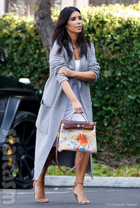 hermes hand bags - PHOTOS Kim Kardashian shows off Hermes handbag painted by North West