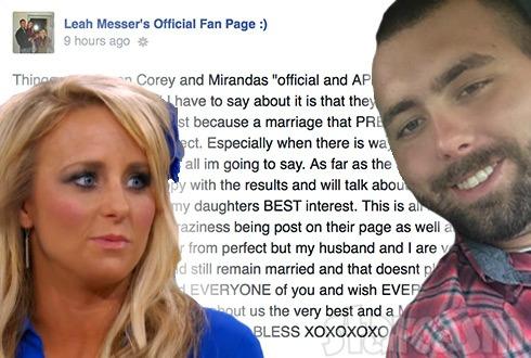 Leah Calvert slams Corey Simms' marriage in Facebook rant