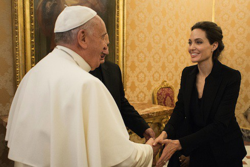 Pope Francis greets Angelina Jolie at the Vatican
