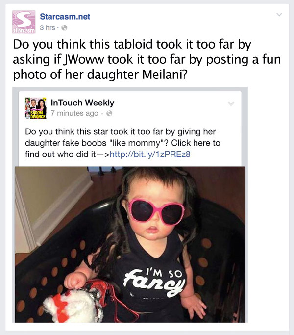 JWoww Meliani makeover photo InTouch controversy